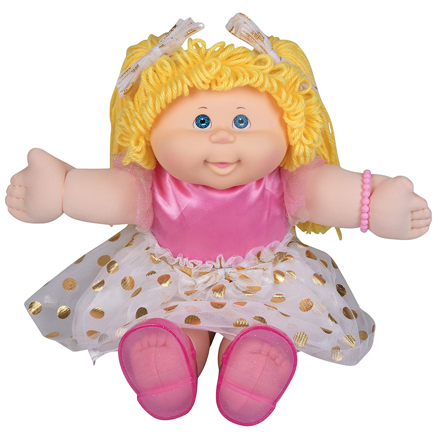 Cabbage Patch Kids Vintage Retro Style Yarn Hair Doll  Original Blonde Hair Blue Eyes 16   Amazon Exclusive  Easy to Open Packaging