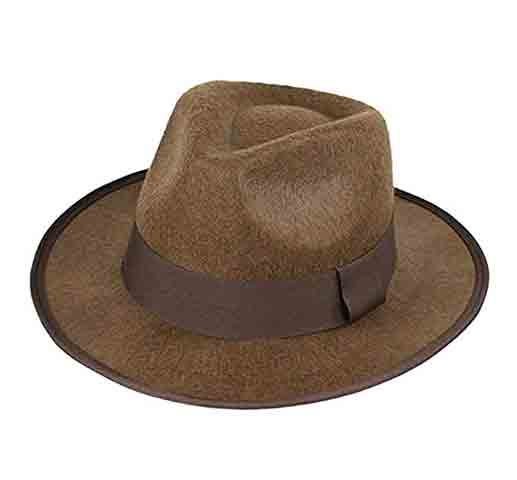 luyaoyao Indiana Jones Men's Felt Outback Fedora with Grosgrain Brown