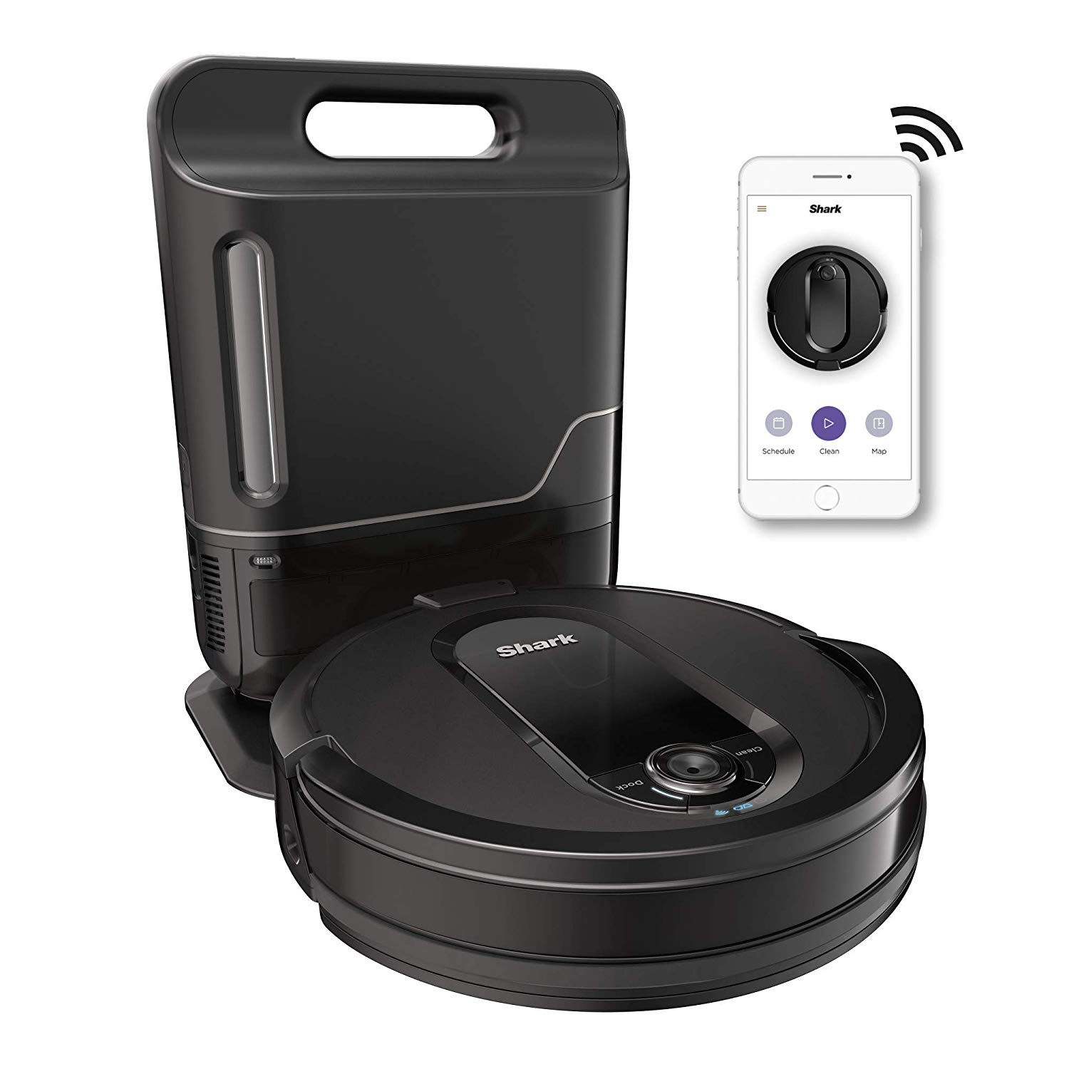 Shark-IQ-R101AE-with-Self-Empty-Base-Wi-Fi-Connected-Home-Mapping-Works-with-Alexa-Ideal-for-Pet-Hair-Carpets-Hard-Floors-Robot-Vacuum-RV1001AE--30-Session-Capacity-Black