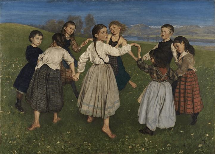 A painting of children dancing in a circle.